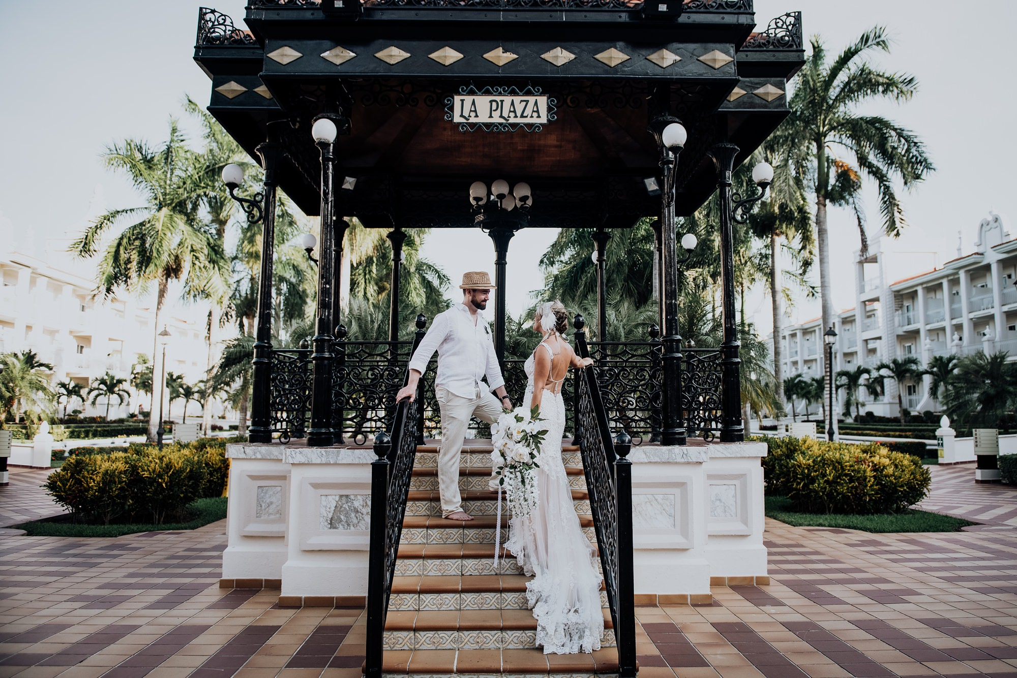 bride and groom gazebo Riu Palace Riviera Maya wedding
