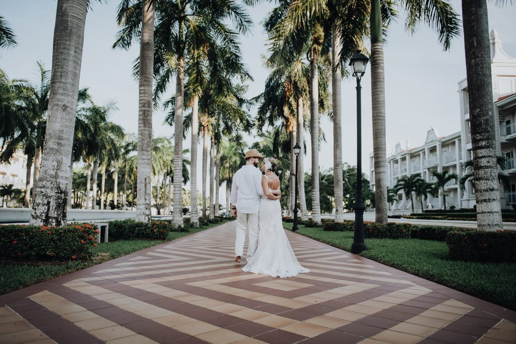 bridal portrait of bride and groom at meixco resort wedding at riu palace riviera maya wedding