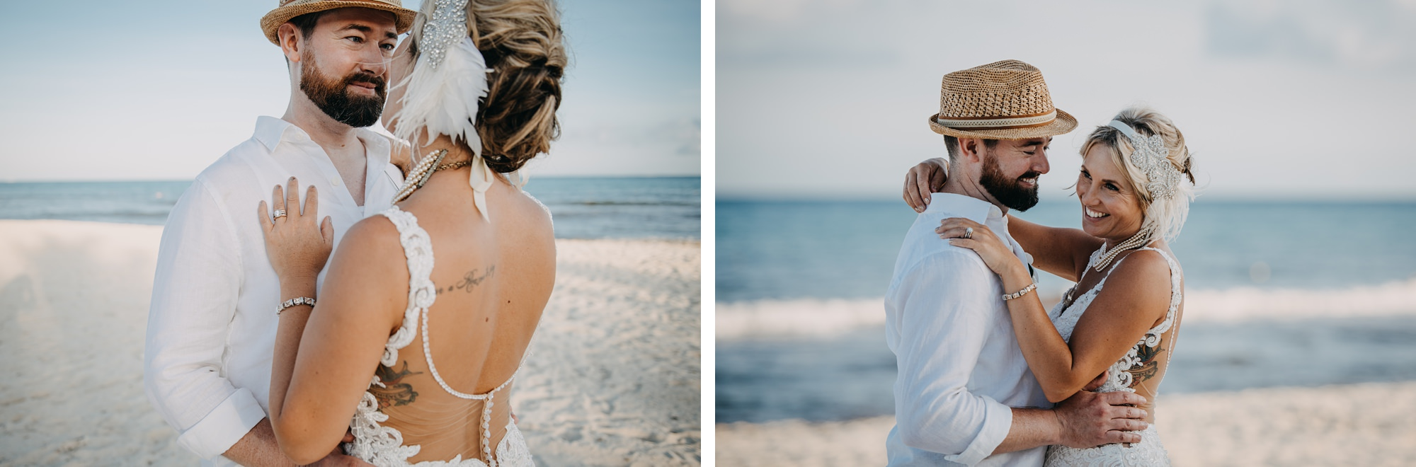 bride and groom laughing on beach at sunset at Riu Palace Riviera Maya resort