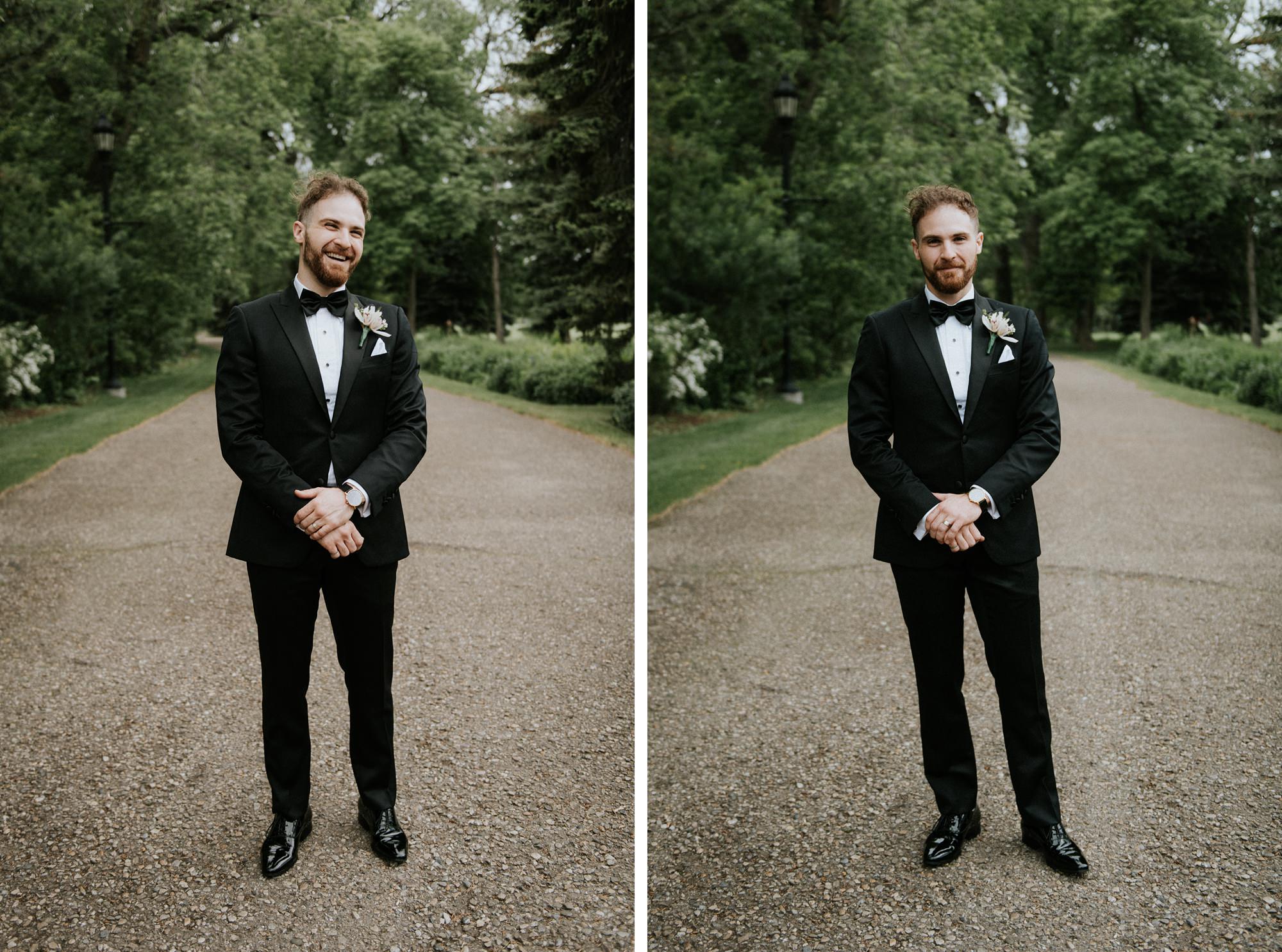 portrait of modern styled groom in plaza theatre wedding
