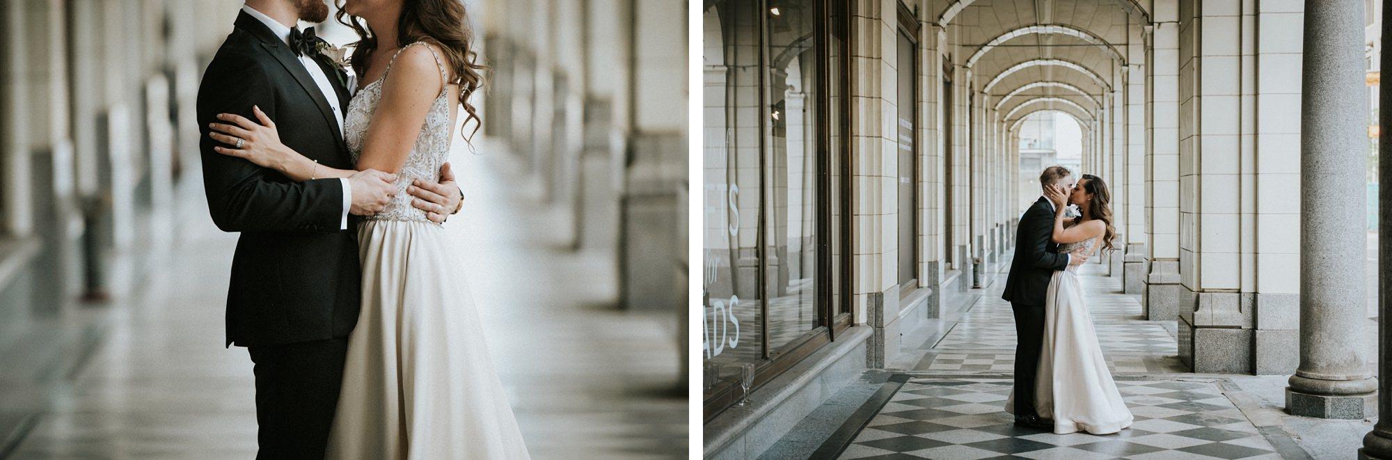 stylish bride and groom during bridal portraits at hudson bay arches at hudson calgary wedding