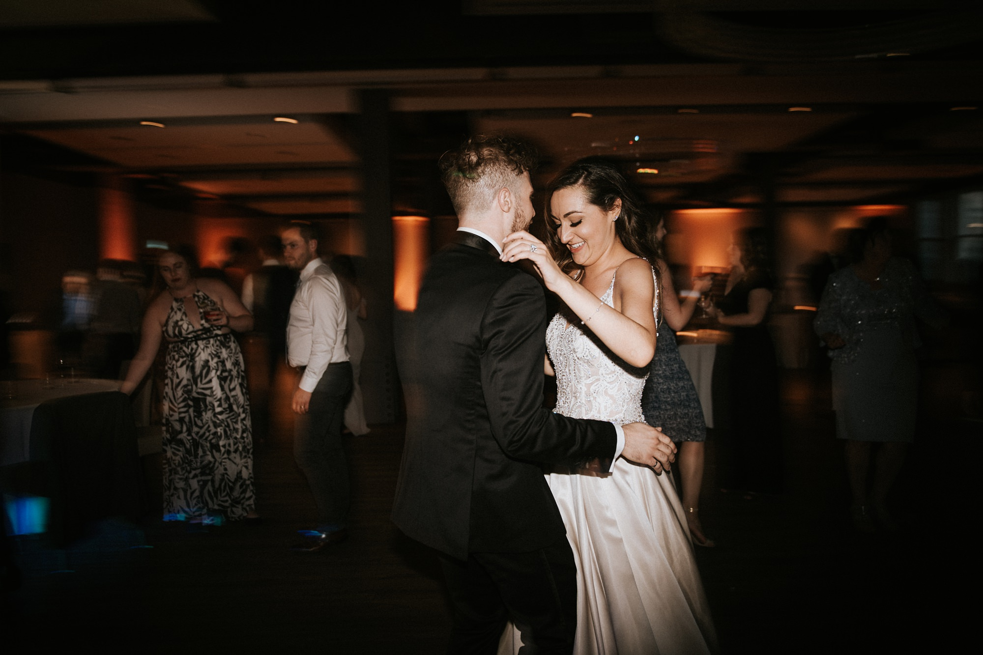 bride and groom share first dance at the hudson in calgary