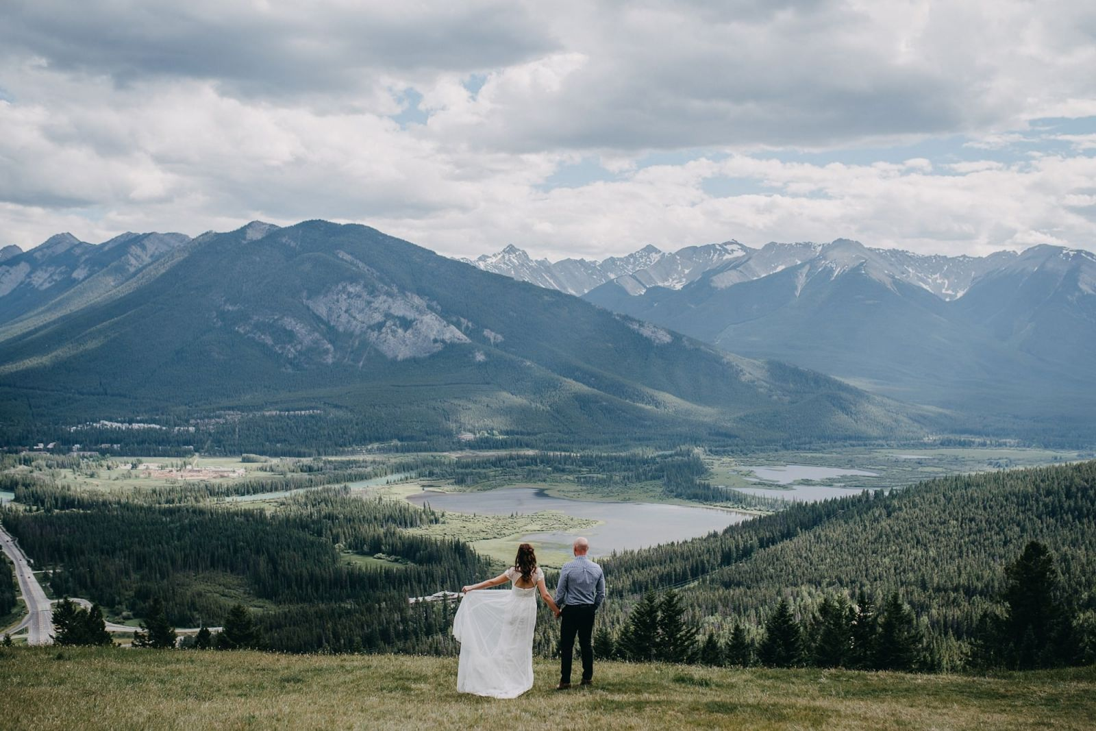 bride groom banff elopement photo