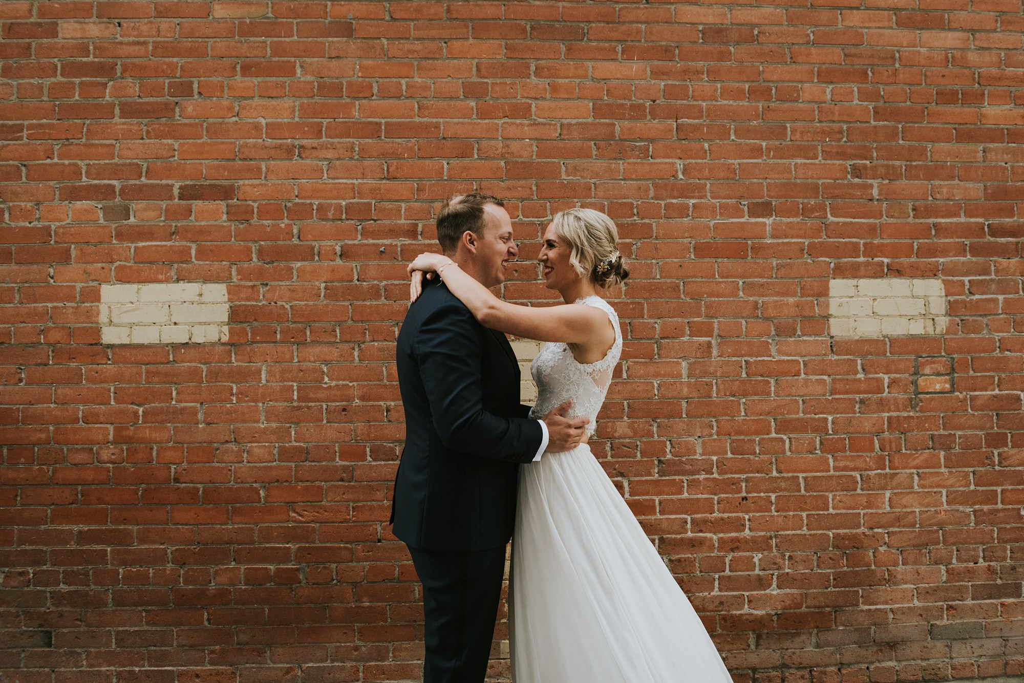 bride and groom wedding portraits in east village