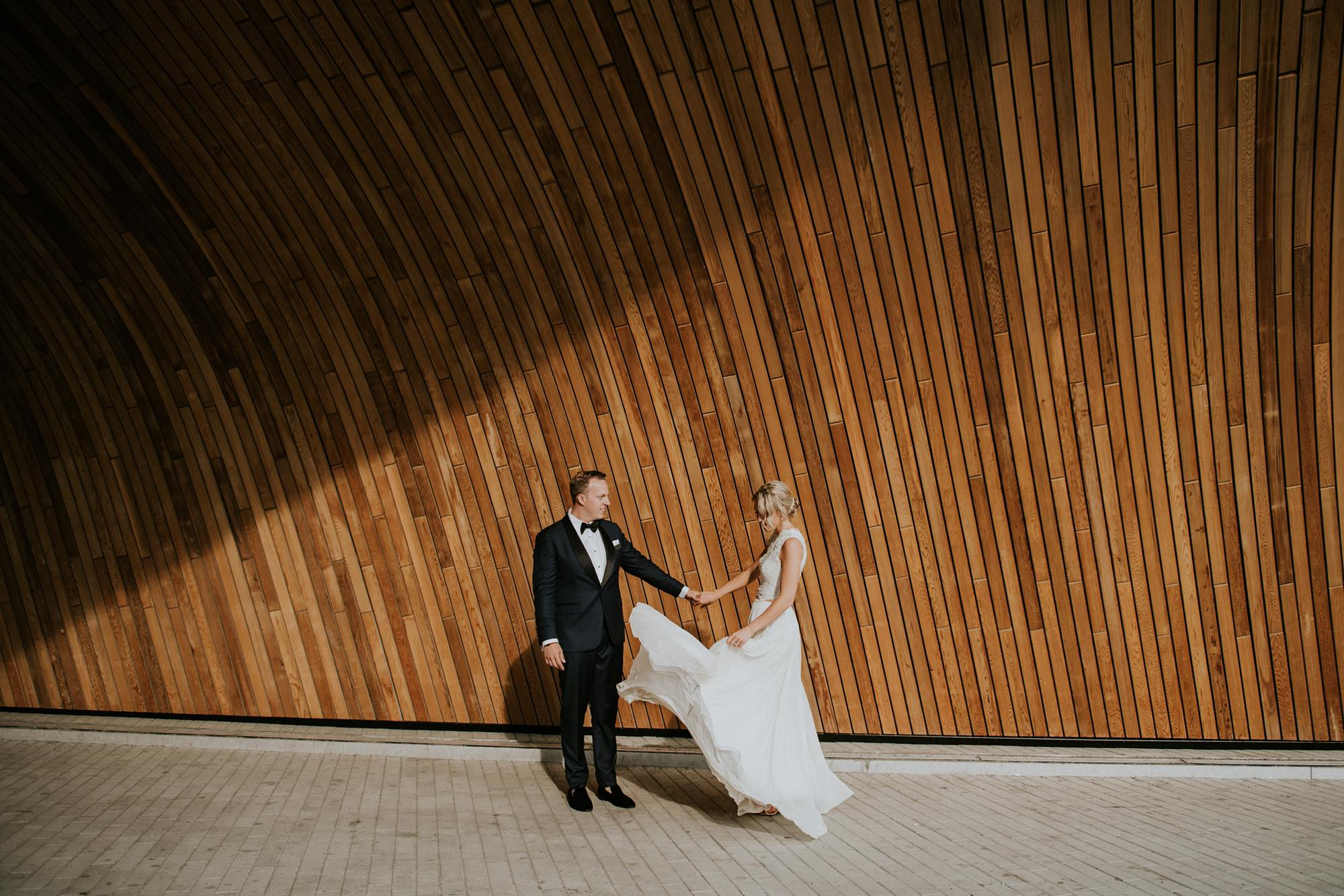 bride and groom portraits at the central public library wedding photos