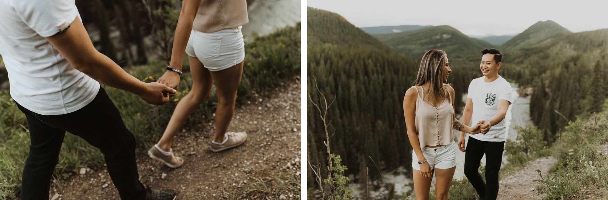 cute couple exploring kananaskis in elbow falls engagement session