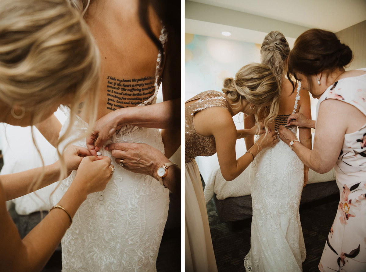 bride portrait getting dress on at hyatt regency calgary hotel