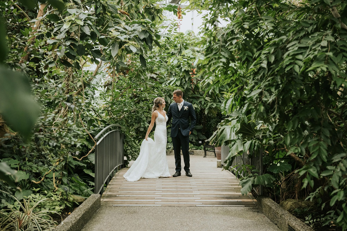 bride and groom indoor garden wedding in calgary