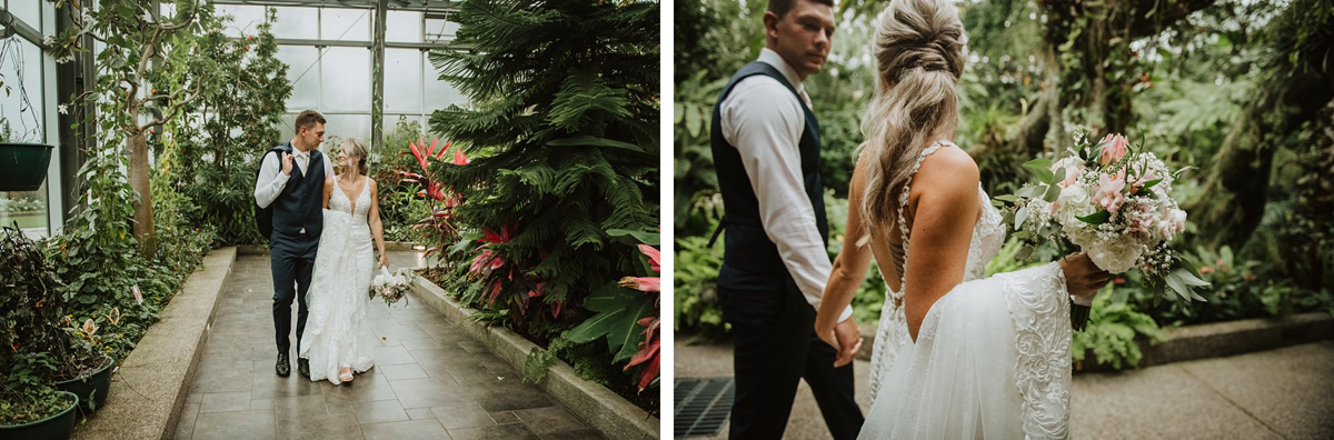 bride and groom walking in butterfly sanctuary at calgary zoo