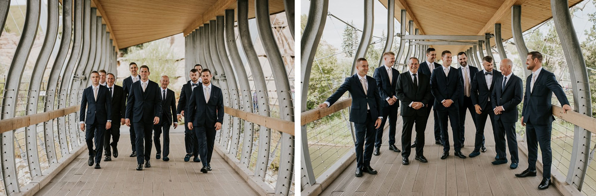 groomsmen portrait on bridge at calgary zoo
