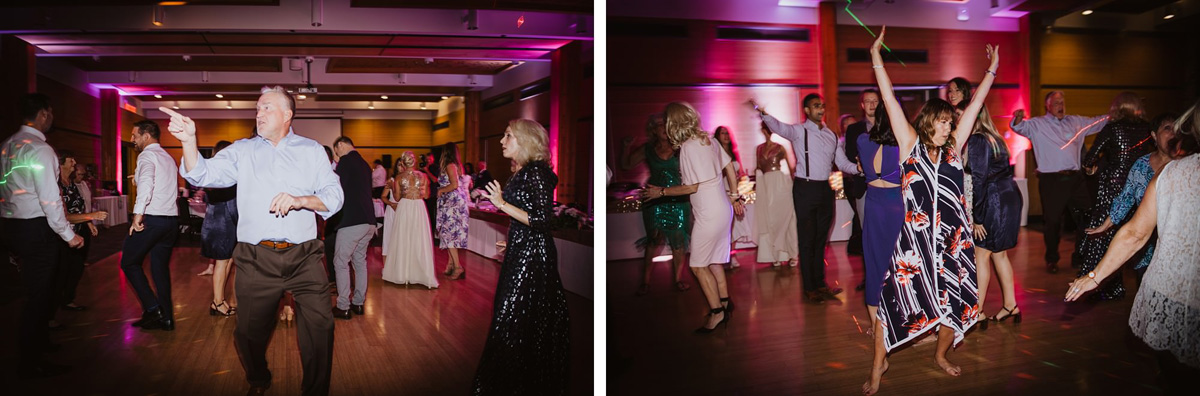wedding guests dancing at modern reception venue