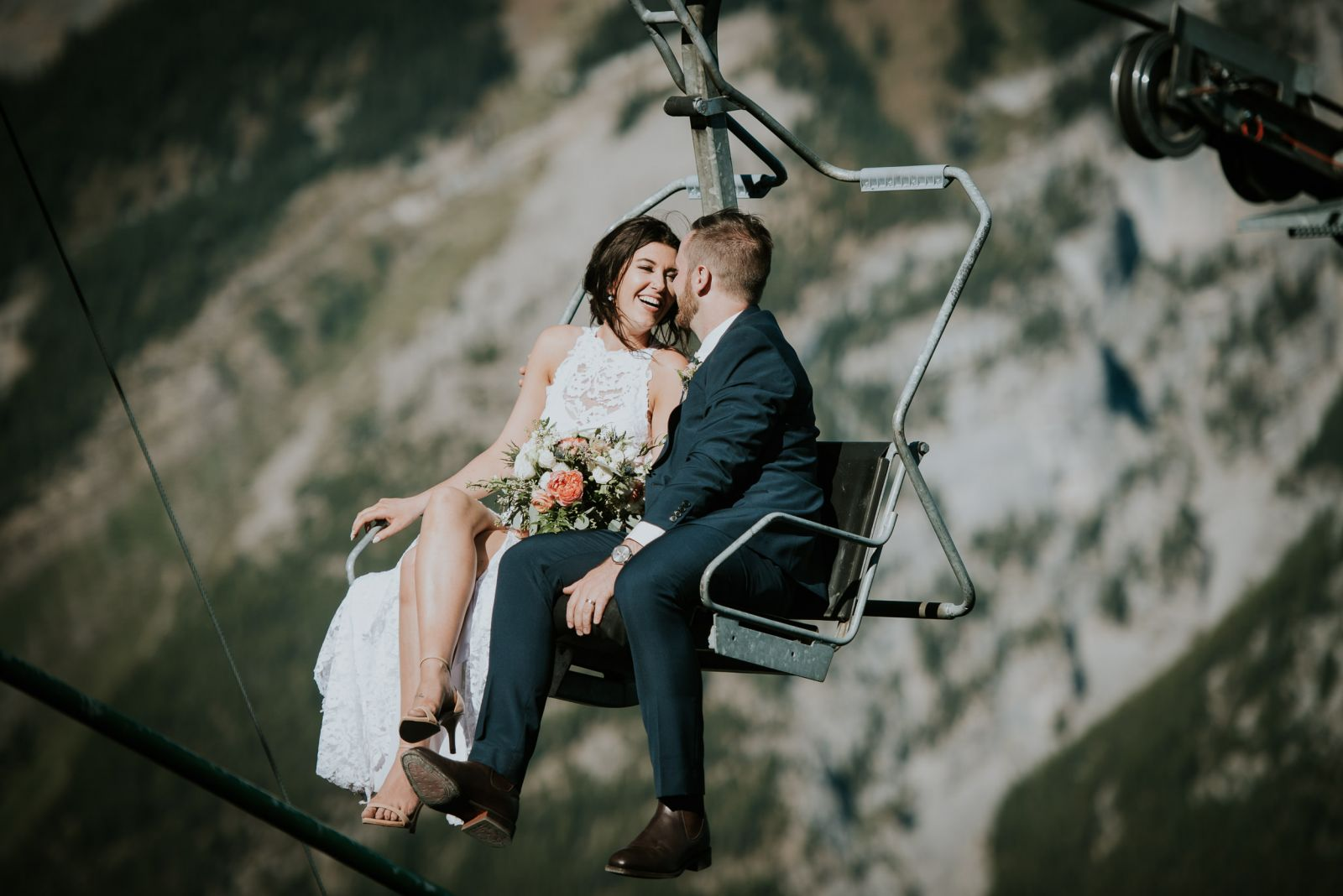 bride and groom mt norquay wedding chairlift