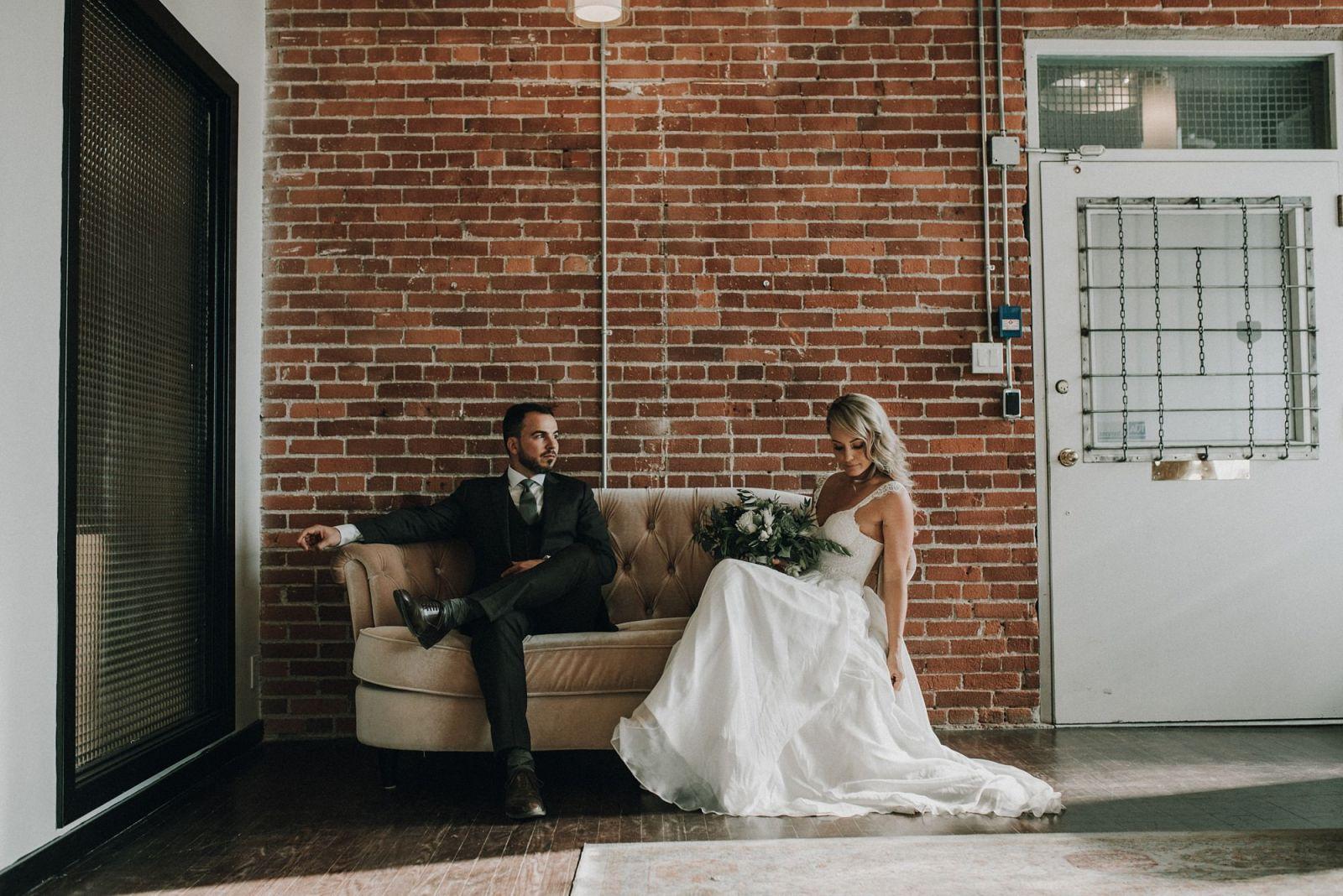 bride and groom industrial modern calgary wedding photography