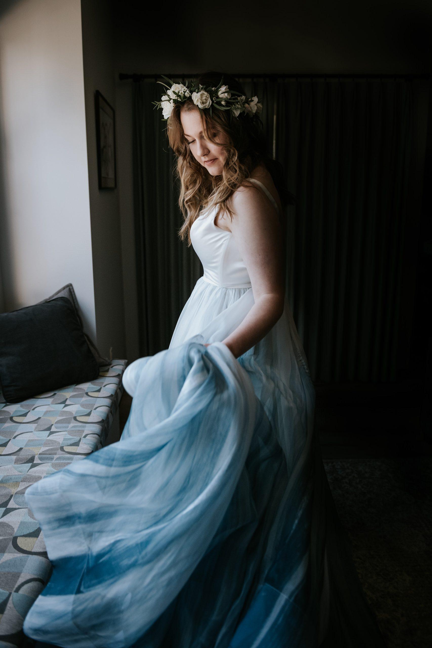 bride in Chantel Lauren hand painted wedding dress