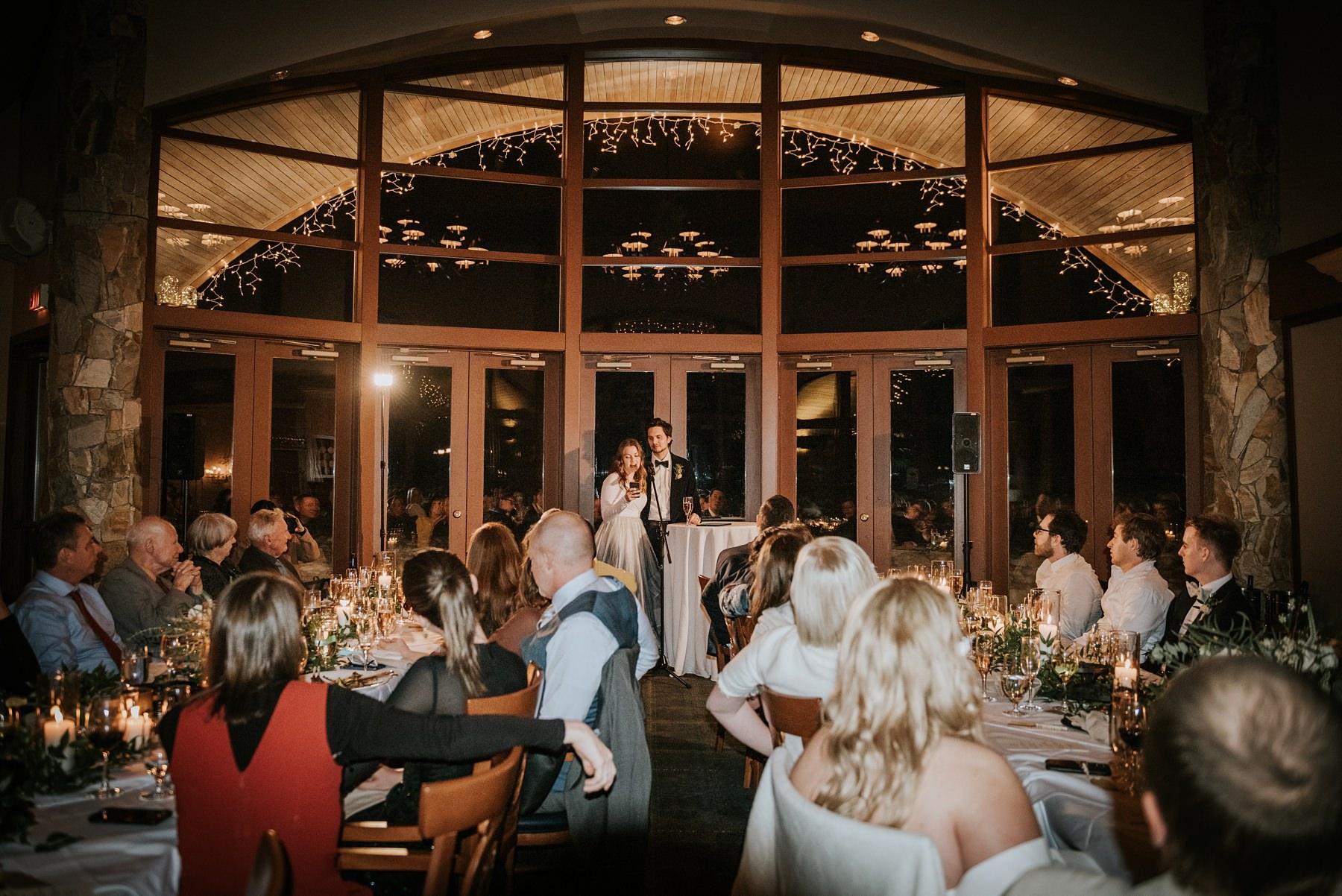 indoor wedding reception fairmont chalet whistler