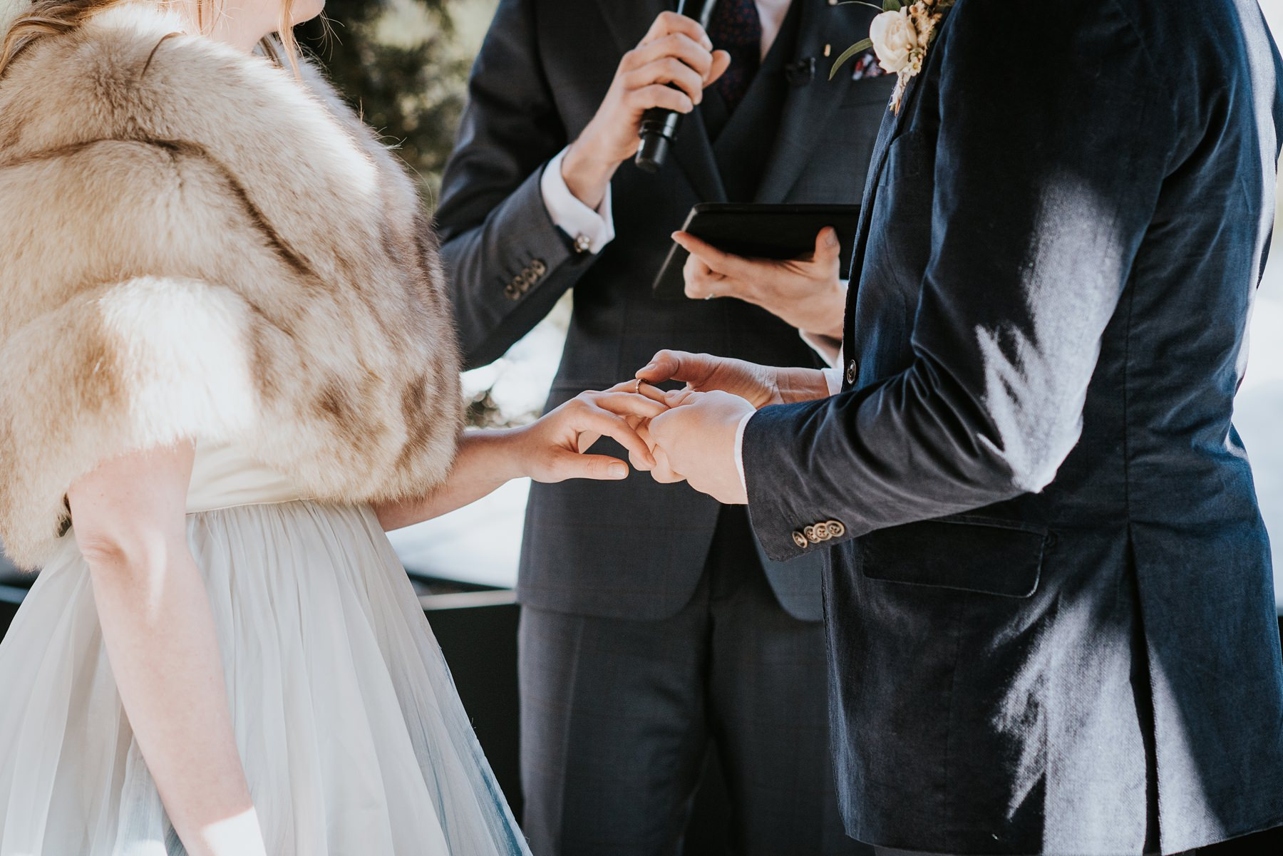 ring exchange during wedding ceremony at Nita lake lodge