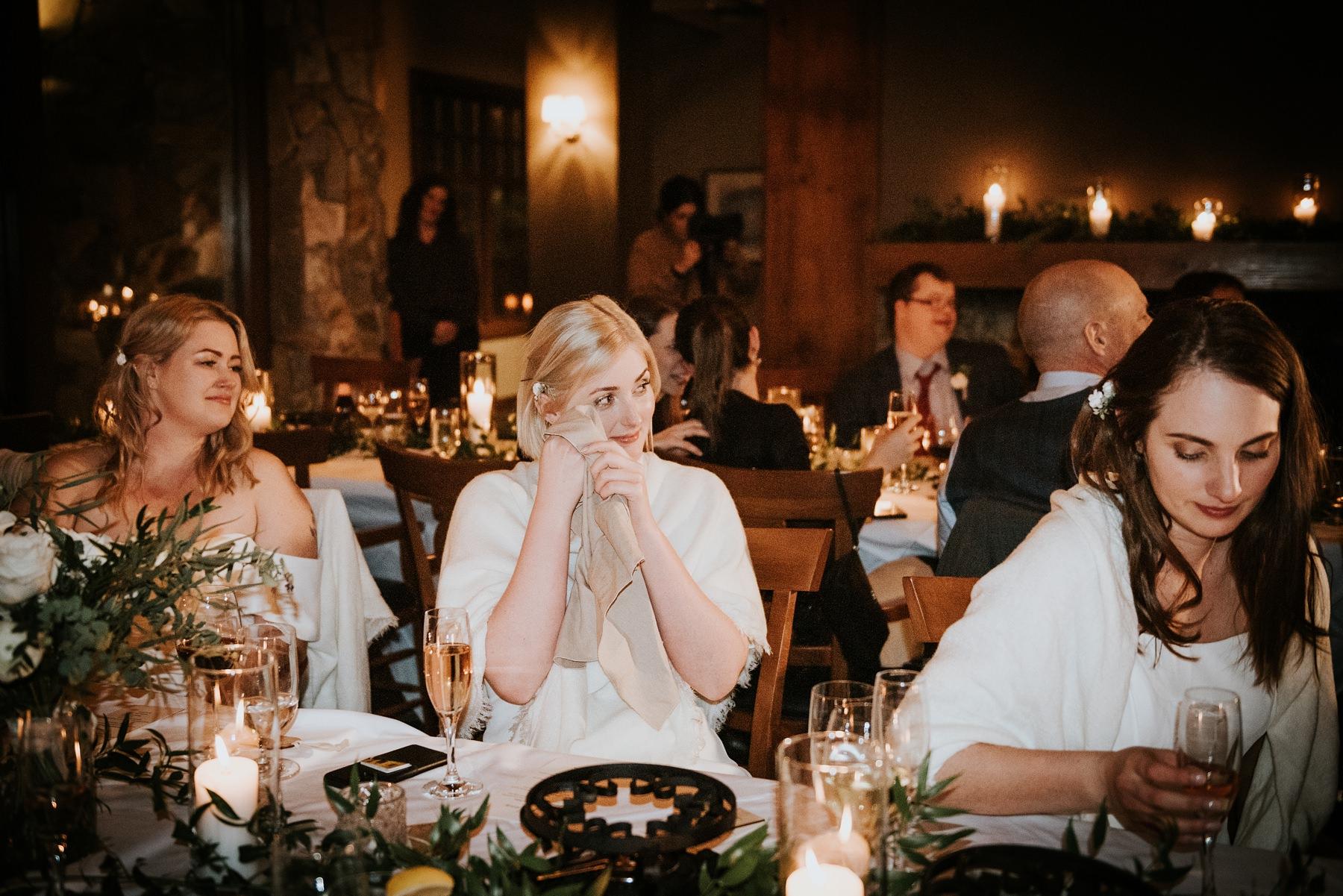 wedding guests crying during speeches at nita lake lodge