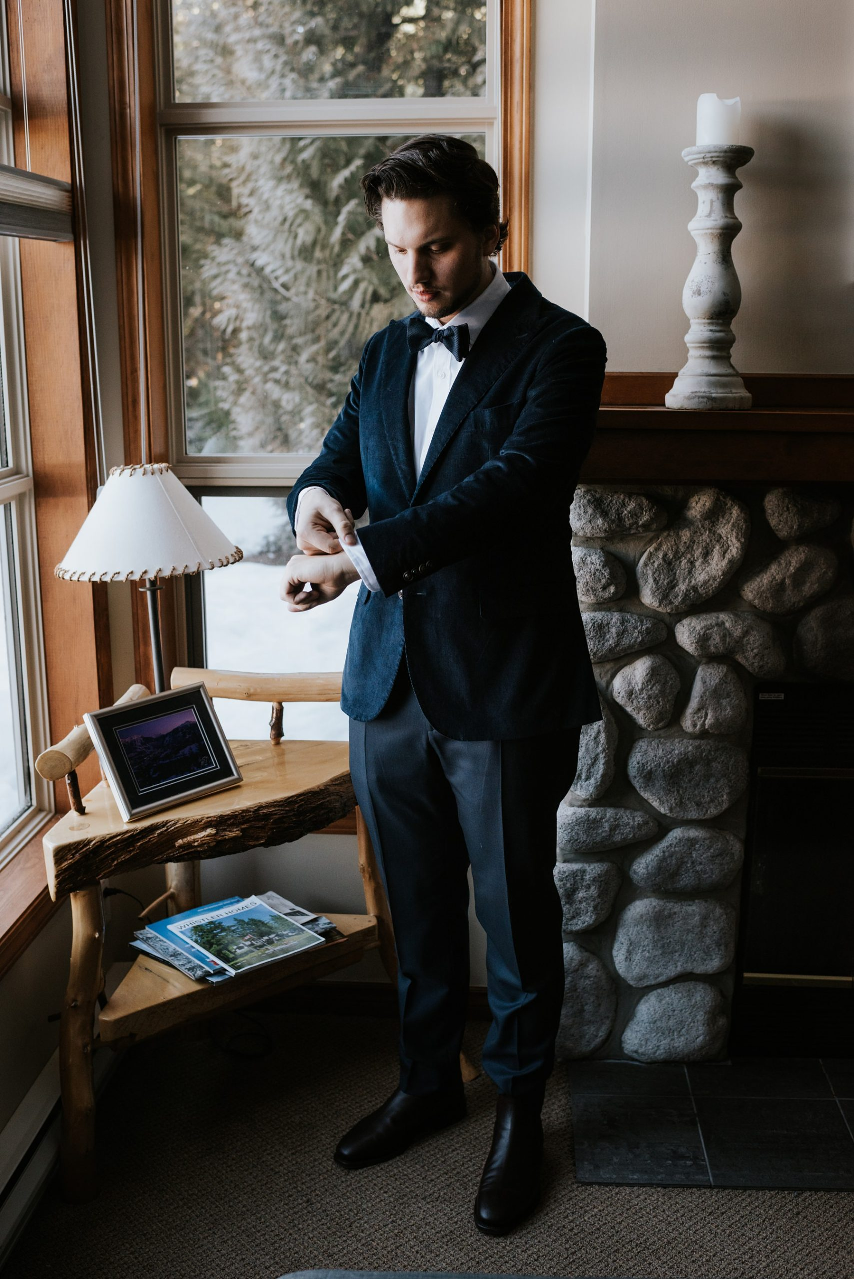 groom getting ready at hotel in whistler before Nita lake lodge ceremony