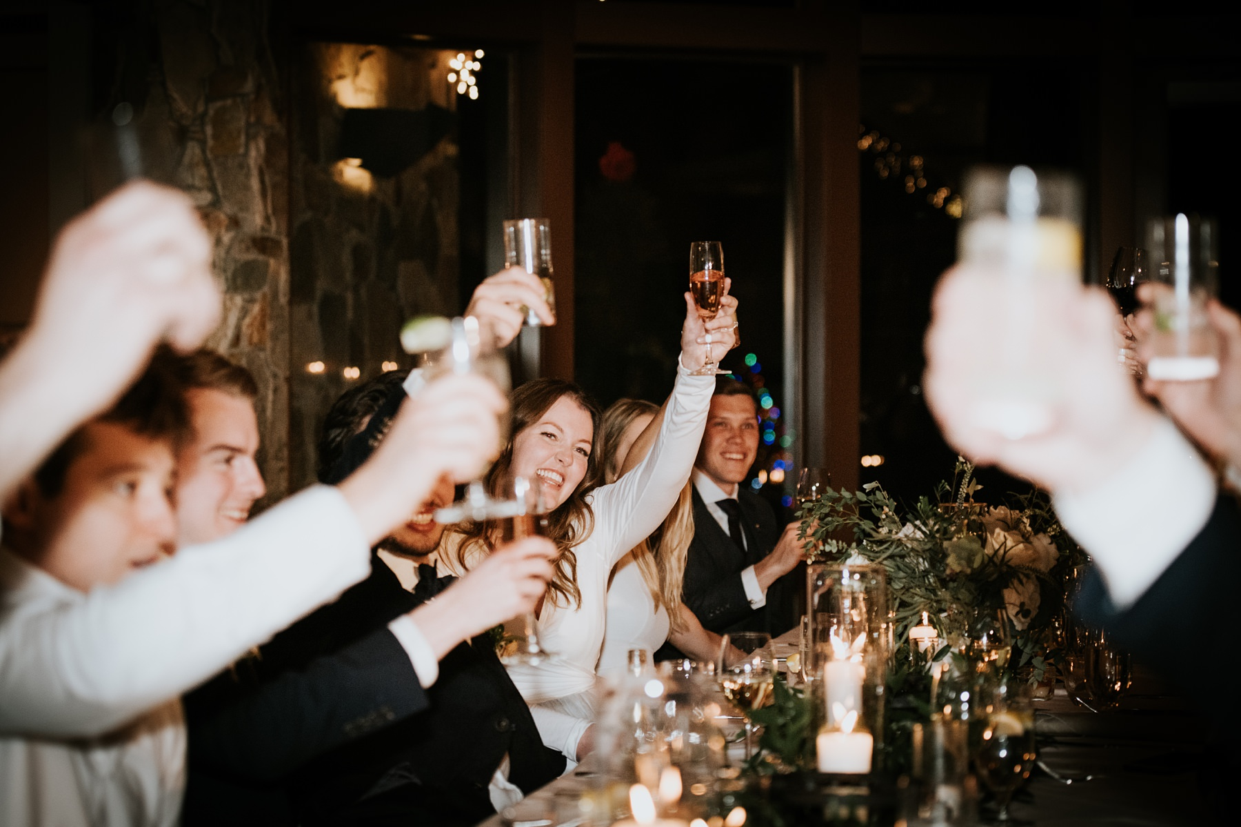wedding toasts at winter wedding at Nita lake lodge