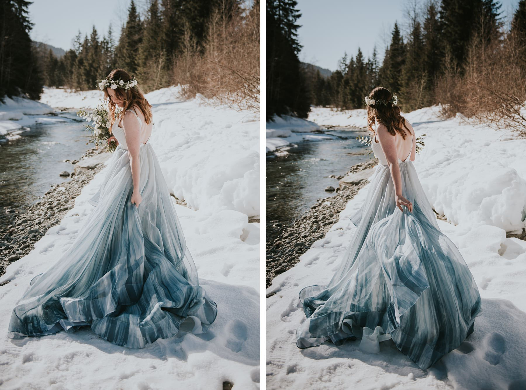 bride walking in the snow with colourful wedding dress