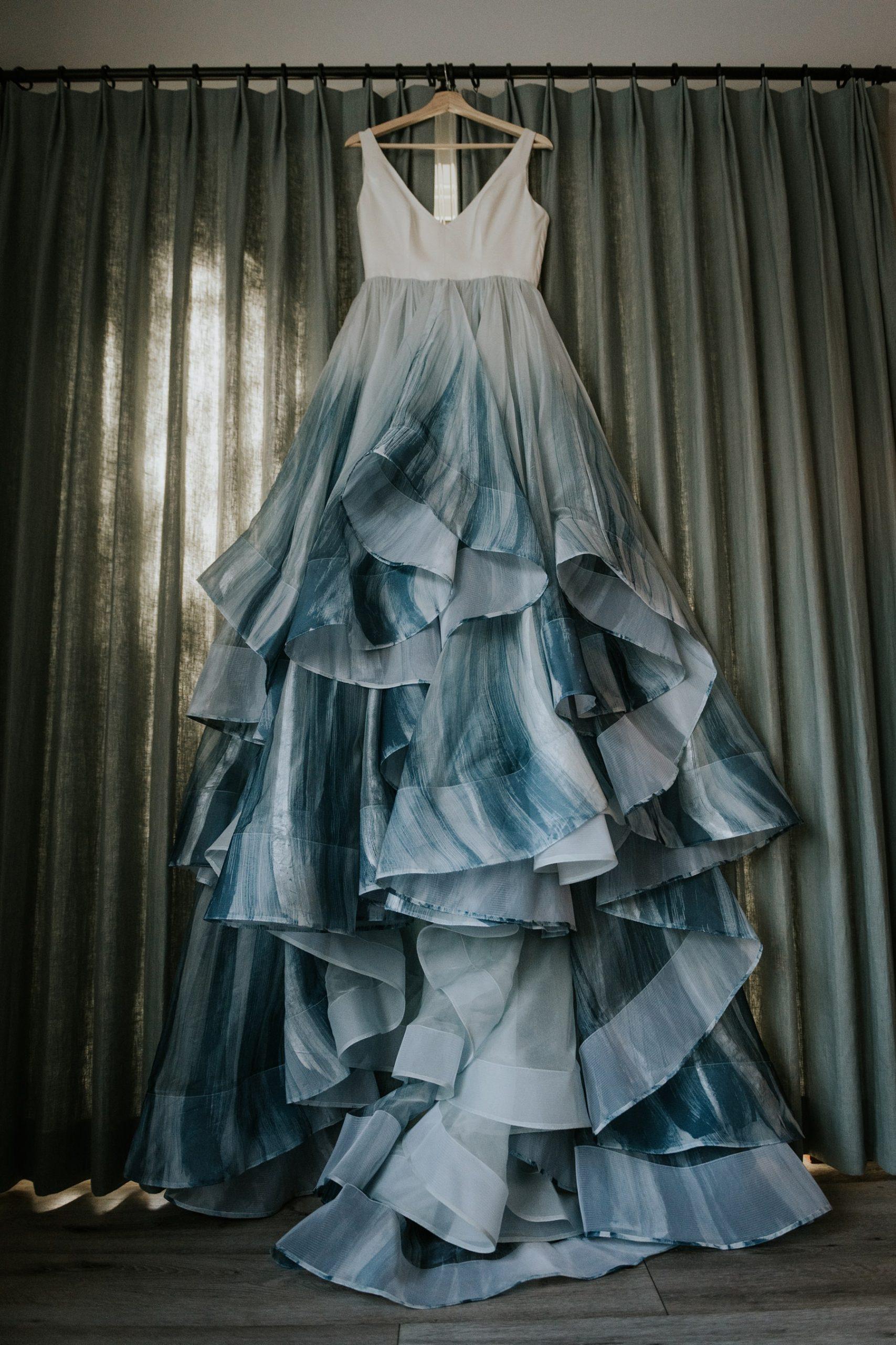 Chantel Lauren hand painted blue designer wedding dress