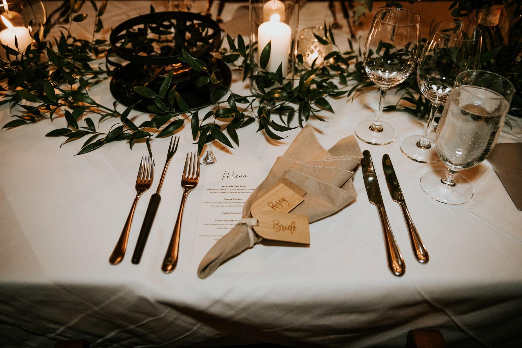 wedding reception decor details at Fairmont chalet whistler