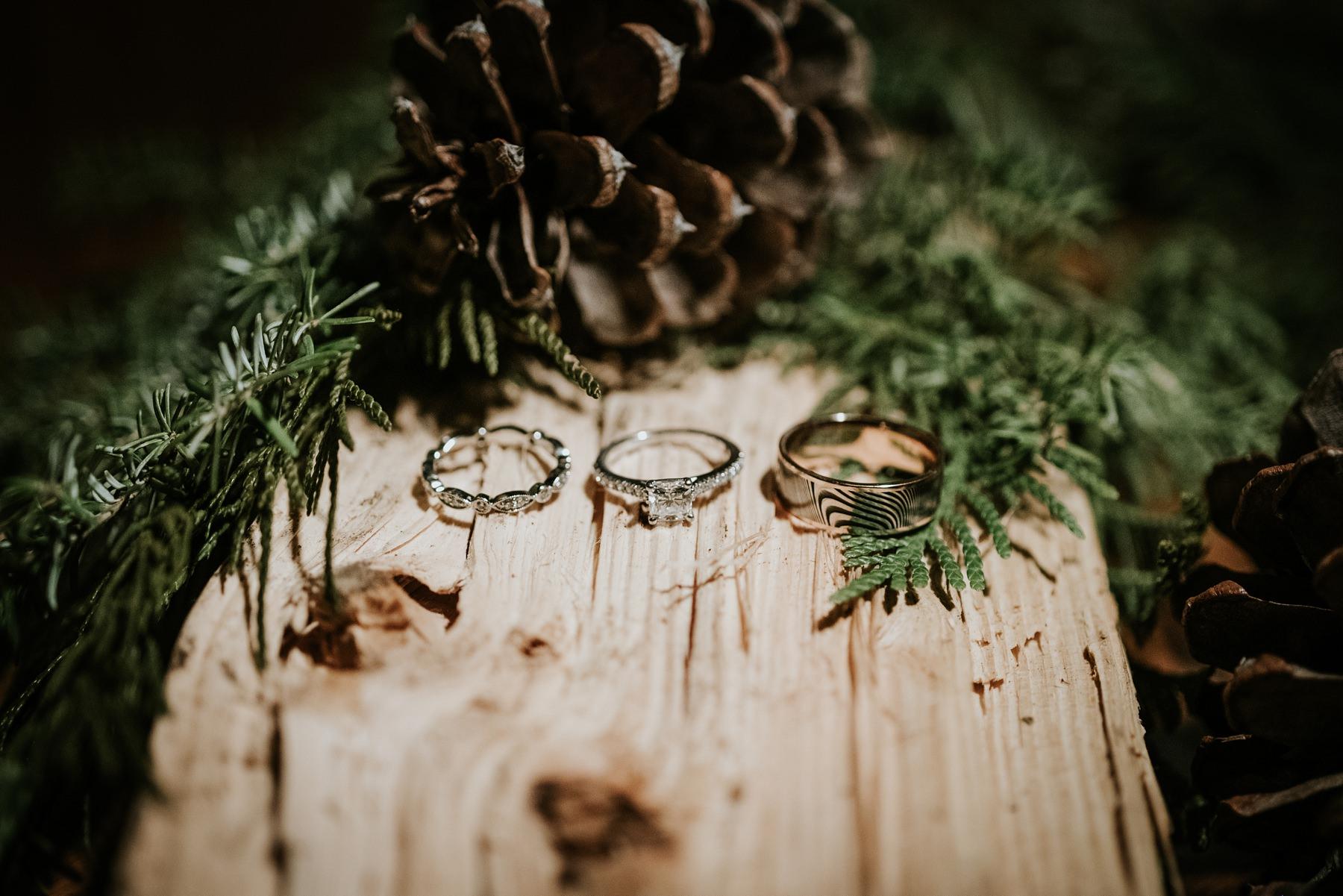 engagement and wedding band detail shot