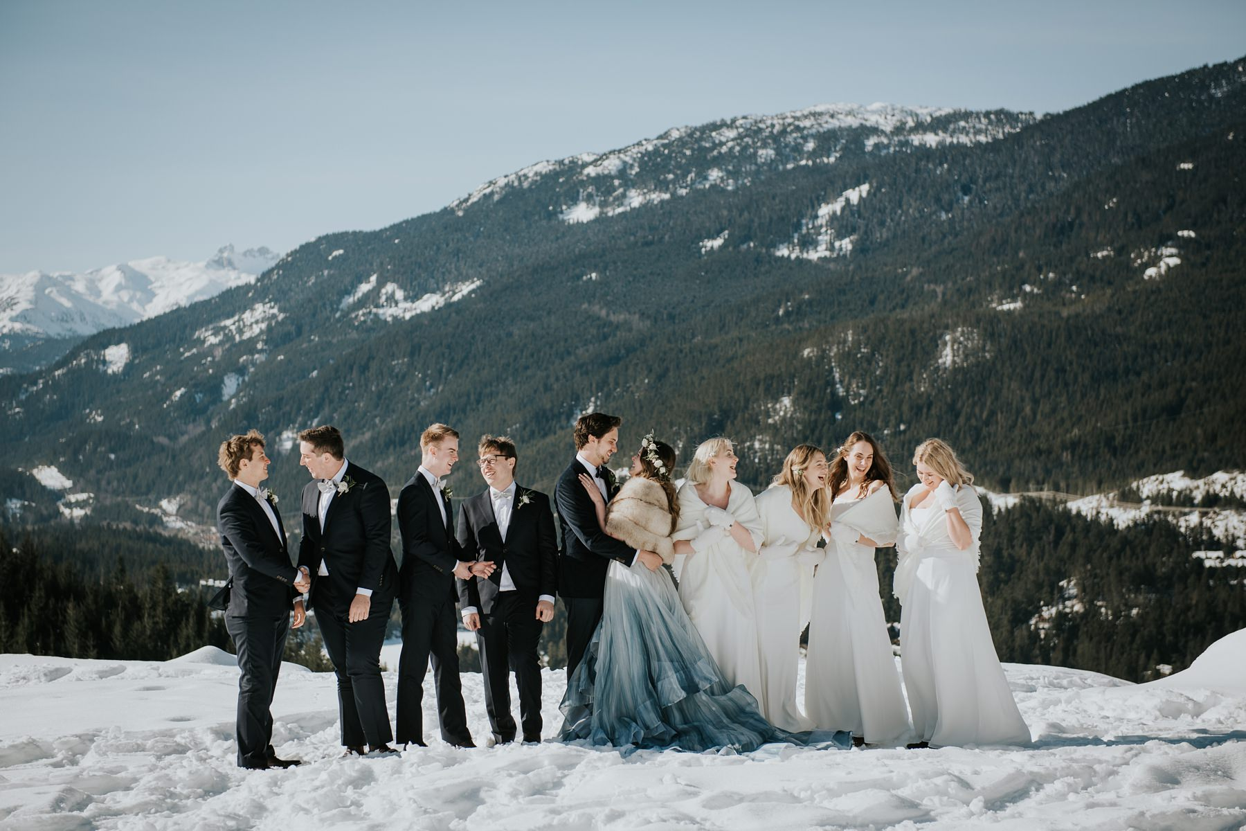 wedding party on mountain in whistler in winter
