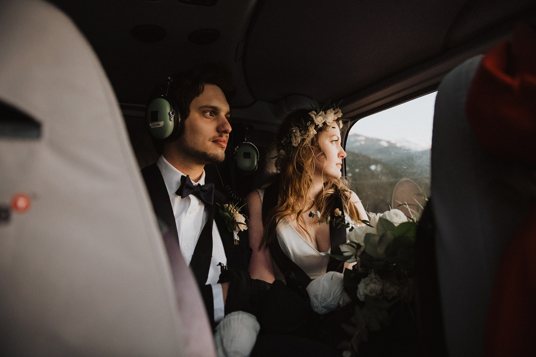 bride and groom in heli ride